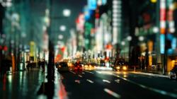 Download Wallpaper cityscapes streets night traffic bokeh city lights tilt shift -183-32