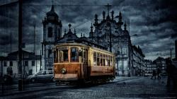 ... Old Colored Tram for 1366x768