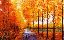 art artistic oil painting nature landscape trees forest path sidewalk trail leaves autumn fall seasons color