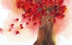 Tree heart leaves painting