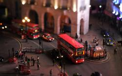 UK London Town Bus Tilt-Shift Photo