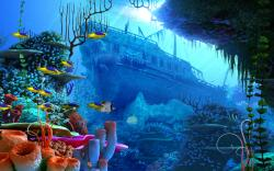 pirates pirate fantasy ship fish ocean underwater wallpaper