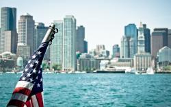 USA Massachusetts Boston City Flag