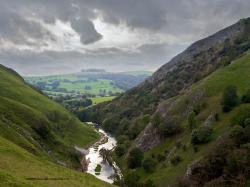 Desktop backgrounds of the hills and River Dove in the Dovedale Valley in Derbyshire