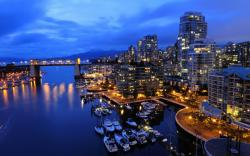 Night Cityscape Lights Vancouver Canada wallpapers