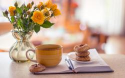 Vase Roses Yellow Notepad Cup Tea Biscuits