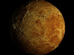 Venus is a dim world of intense heat and volcanic activity. Similar in structure and