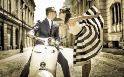 Vintage Scooter Vespa Street Boy Girl Kiss Love