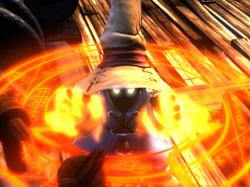 Vivi casting a fire spell at Black Waltz 3.