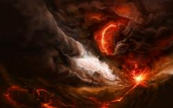 Volcano Eruption Art