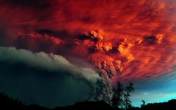 Amazing photo taken of the volcano eruption and as the sunset the beautiful colors that should have been in the sky are now reflecting off the smoke from ...