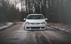 Volkswagen Golf GTI Car White Tuning Winter Snow