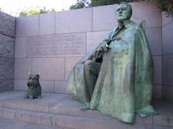 Statue of President Franklin Delano Roosevelt with his beloved dog, Falla, at the FDR Memorial on Washington D.C.'s Tidal Basin