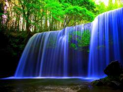 Blue Waterfall Forest 1600x1200 waterfall