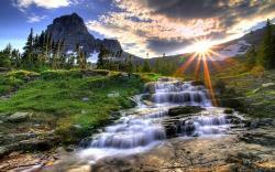 Waterfall Mountain Sunset