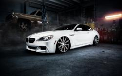 bmw m6 white old cars garage smoke low light