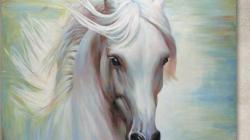 WHITE HORSE | DAS WEISSE PFERD | Original Painting by J&O Art Studio Cologne