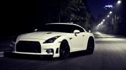 White Nissan GT-R R35 Night Street Photo