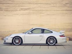White Porsche 911 997 GT3 sideways, Porsche
