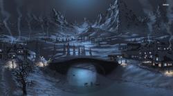 winter night drawing wallaper