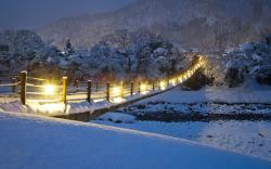 Winter river bridge