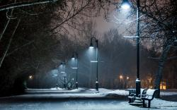 park winter snow bench lights lamp post night path trail wallpaper background