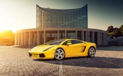 Lamborghini Gallardo Yellow Car Parking HD Wallpaper