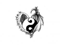 Yin yang sign in the wings tattoo wallpaper