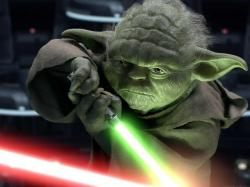 Yoda battling Palpatine in the Senate chamber.